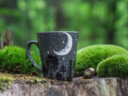 Moon forest night sky constellation mug, forest animals full moon coffe mug, hand painted tree moon illustration, ceramic pottery etsy seller online boutique, starry night art work, gift mug with space illustration made by shewolfka