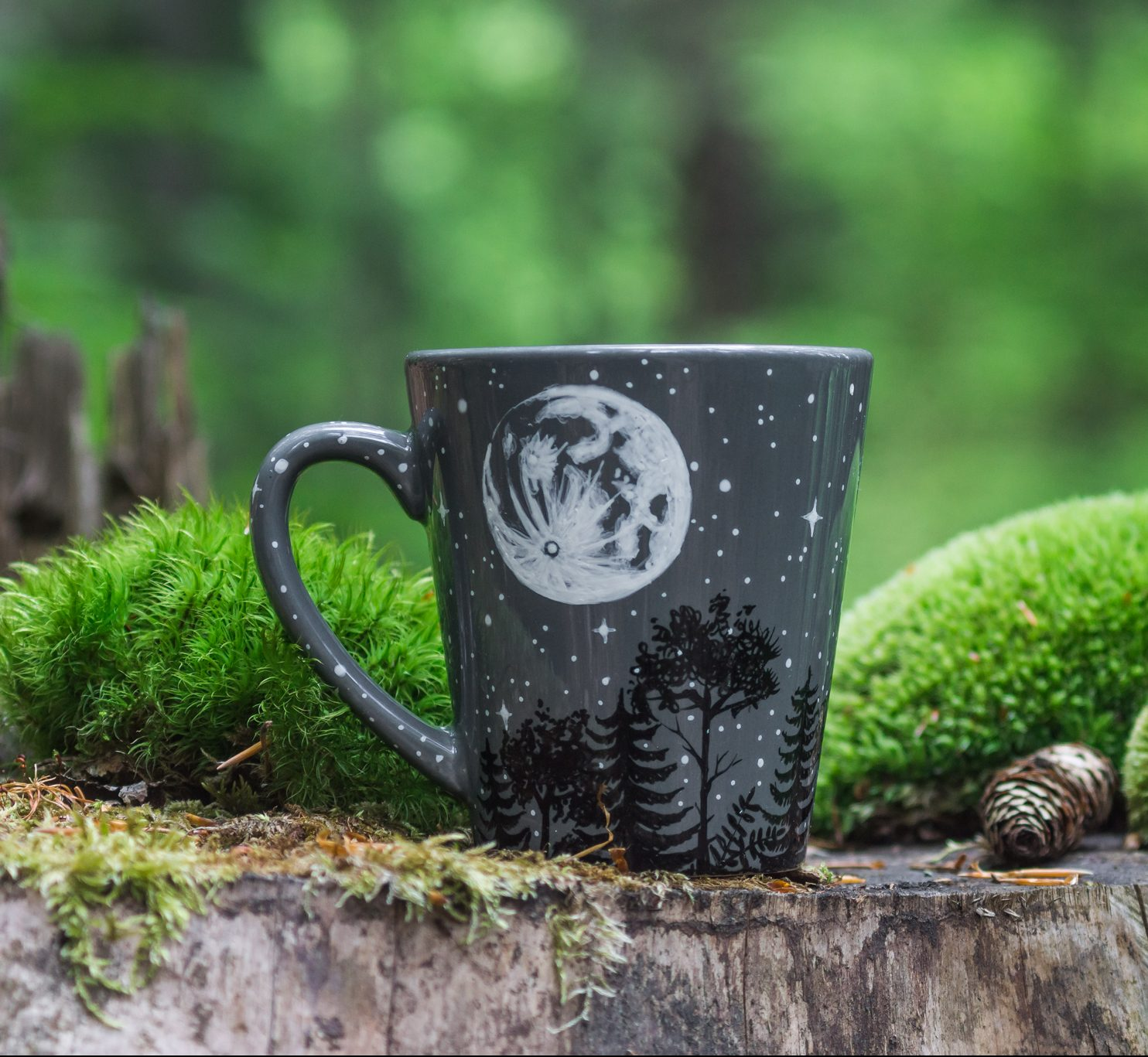 Moon forest night sky constellation mug, forest animals full moon coffe mug, hand painted tree moon illustration, ceramic pottery etsy seller online boutique, starry night art work, gift mug with space illustration