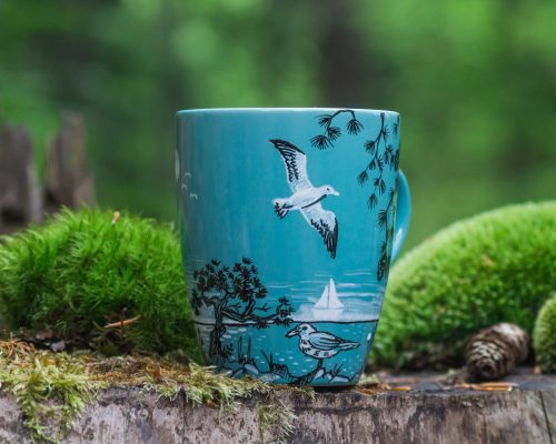 Illustrated seagulls on the mediterranean sea mug, hand painted illustration of nature, sea side with pine trees and birds, tribal feathers on seaside, etsy store online boutique, gift shop for nature lovers by shewolfka