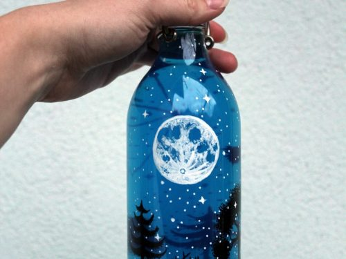 Forrest bottle - Shewolfka hand painted bottles