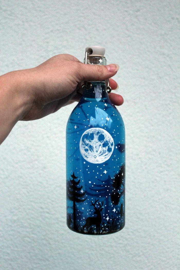 Forrest bottle - Shewolfka hand painted bottles