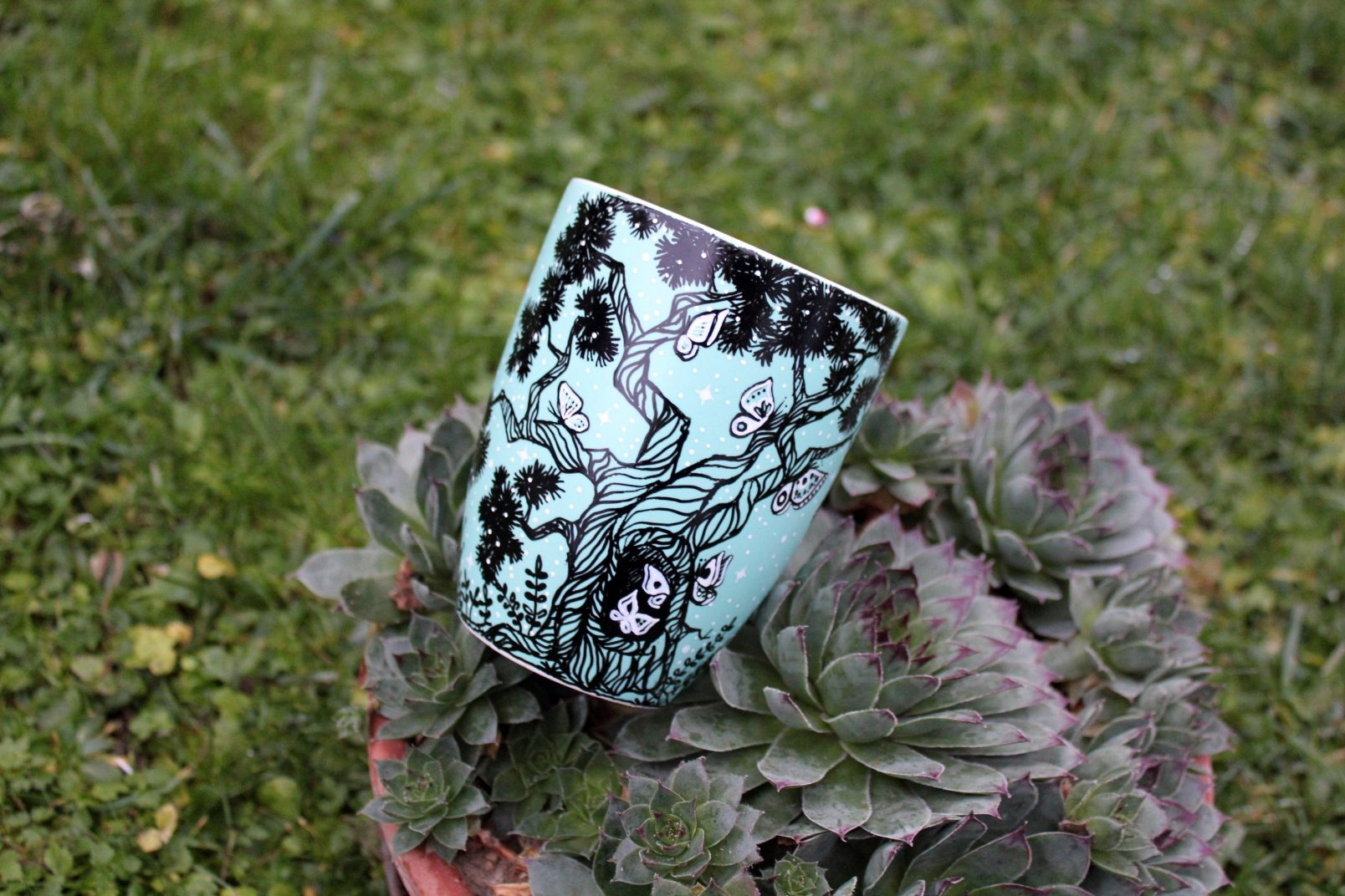 butterfly tree with wandering girl hand painted illustration pine tree meadow flowers handmade gift for coffee lovers tea cup online store made by shewolfka
