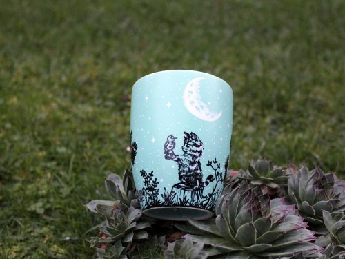 cat bird play starry night crescent moon pet coffee mug tea cup night time pine trees forest hand painted unique illustration painting line art shewolfka etsy art plants meadow