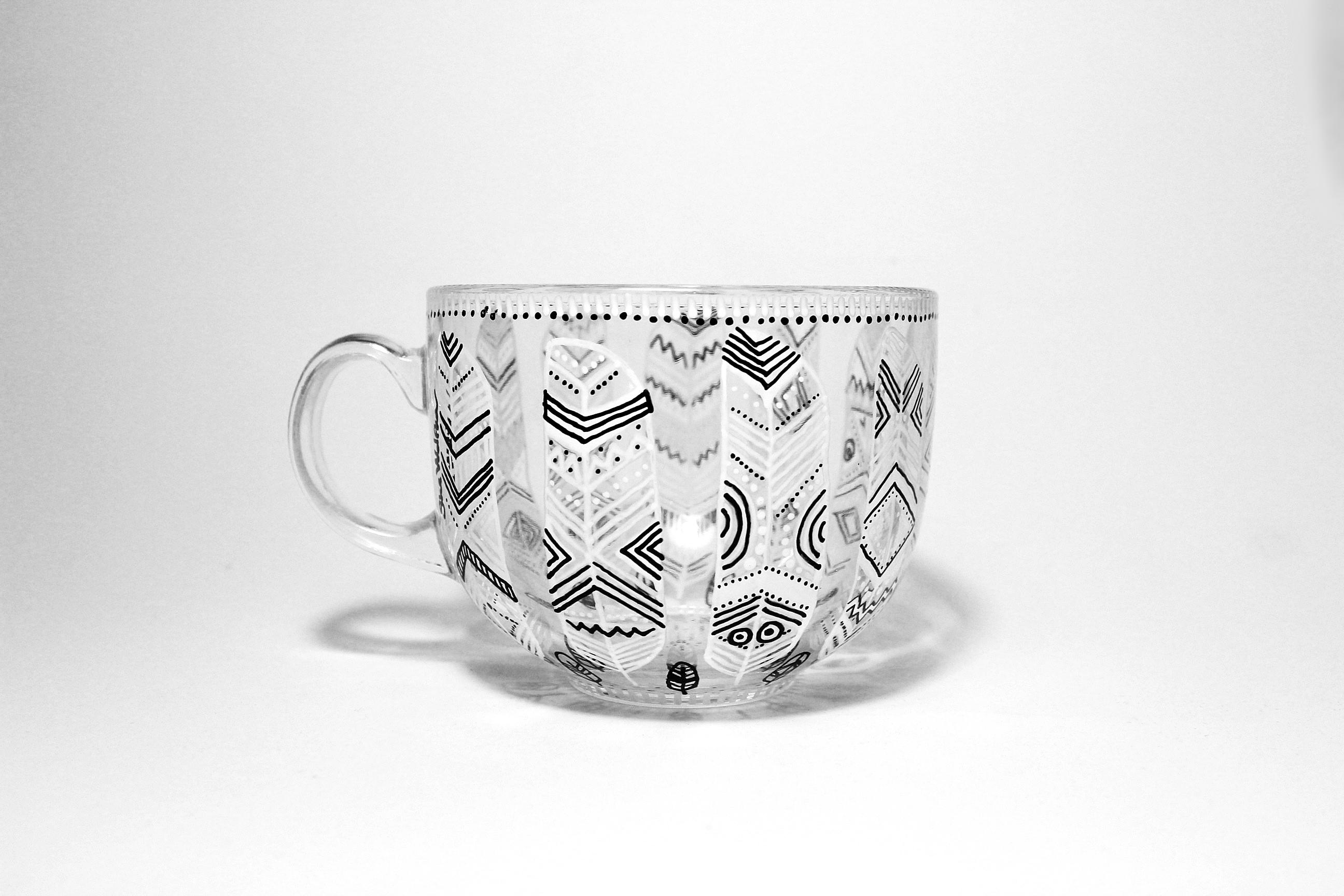 Line Art Feather : Tribal feather mug shewolfka
