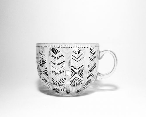 glass feather tribal coffee tea mug, feathers hand illustratiuons, hand painted feathers on tea cup, glassy mug birthday gift, line art, etsy seller etsy store shewolfka.com etsy finds
