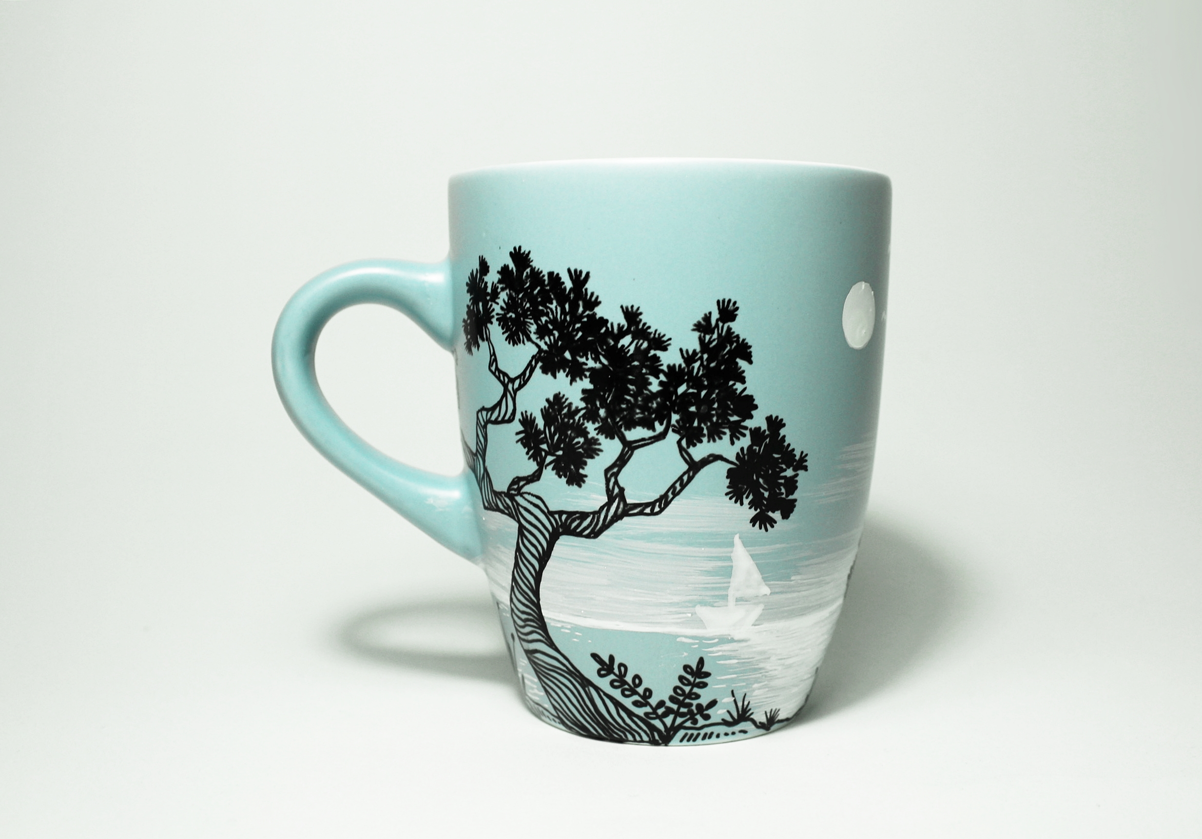 Seaside With Pine Trees Coffee Mug
