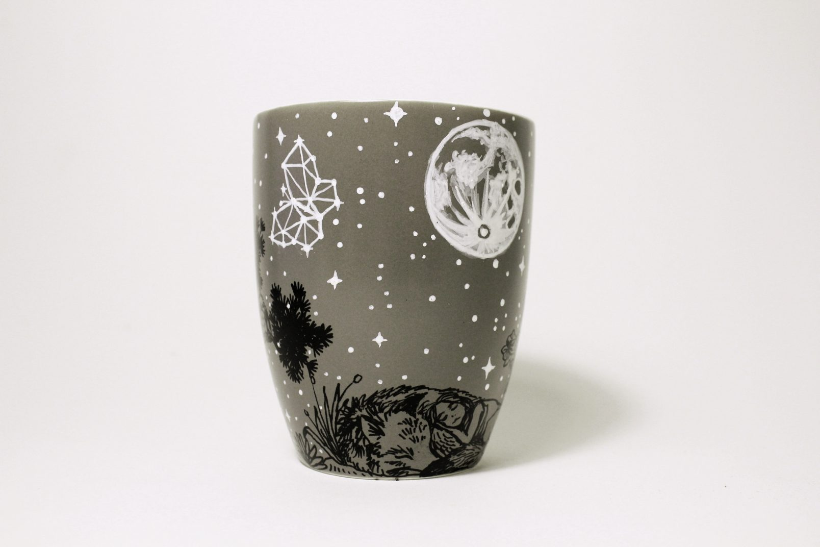 sleeping girl and wolf stars moon forest meadow etsy store online shopping hand painted illustration mug coffee tea cup