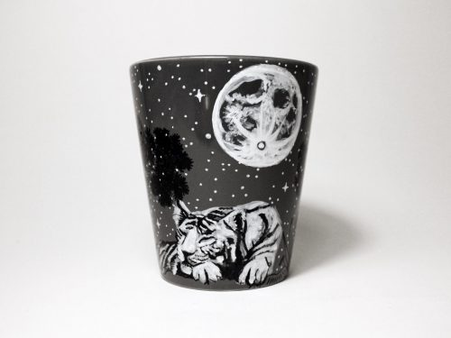 white tiger full moon sleeping night starry night pine trees wild animals unique hand painted illustratios made to order etsy coffe mug tea cup shewolfka art online shopping beautiful gift