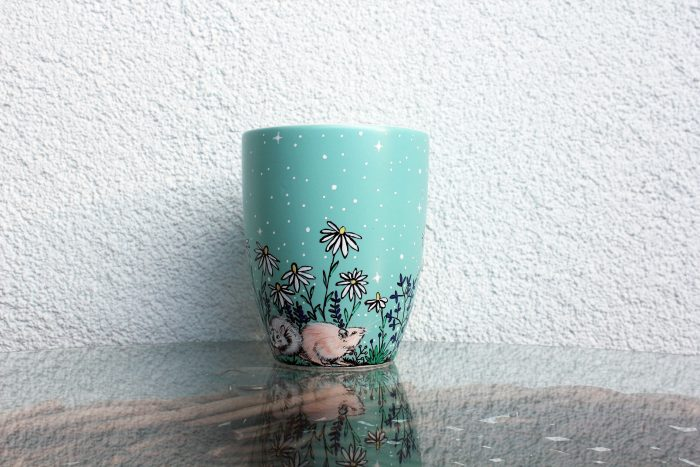 rat mug perosnalized custom coffe mug, tea cup animal lovers pet lovers rat mug lovers mouse squirrel degu chinchila bunny bird pet mug children illustration gift hand painted handmade mug flowers meadow night scene moon forest nature mug