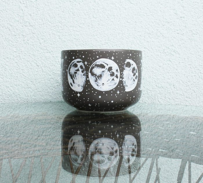 Grey moon phases mug