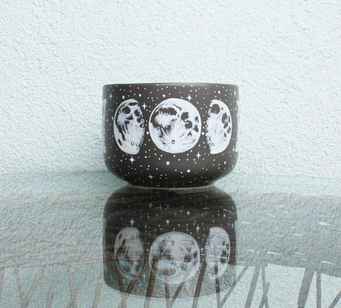 Grey moon phases mug