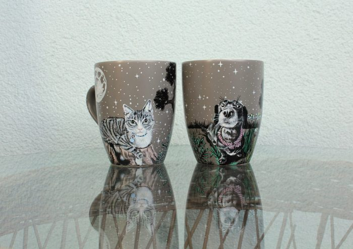 Personalized custom pet dog coffe tea mug cup hand painted illustration pet mug night scene moon stars flowers meadow dog pine trees sky pet mug etsy 5