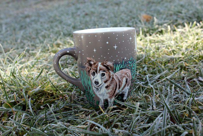 Personalizet custom pet mug coffe tea cup hand painted handmade illustration mug pet forest meadow bird cat moon grass pine trees mug etsy store 3