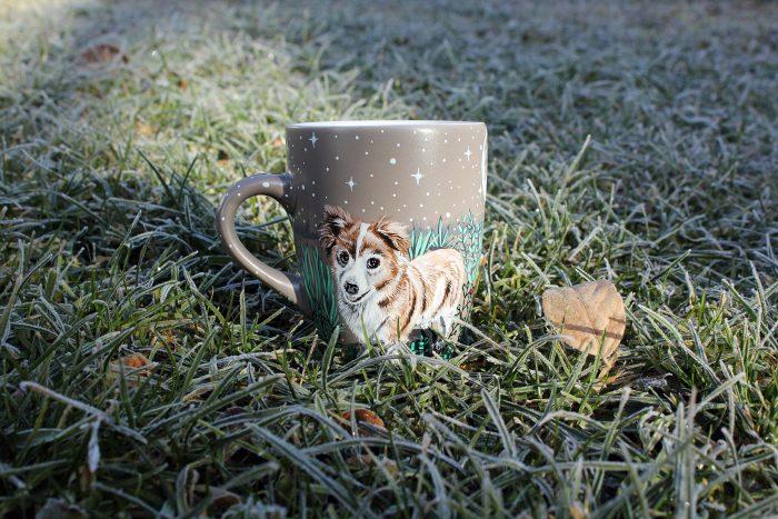Personalizet custom pet mug coffe tea cup hand painted handmade illustration mug pet forest meadow bird cat moon grass pine trees mug etsy store 10
