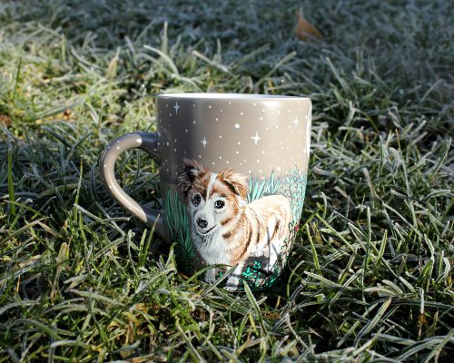 Personalized custom pet mug coffe tea cup hand painted handmade illustration mug pet forest meadow bird cat moon grass pine trees mug etsy store 3