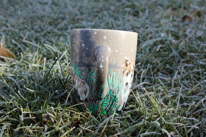 Personalizet custom pet mug coffe tea cup hand painted handmade illustration mug pet forest meadow bird cat moon grass pine trees mug etsy store 8