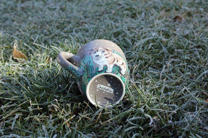 Personalizet custom pet mug coffe tea cup hand painted handmade illustration mug pet forest meadow bird cat moon grass pine trees mug etsy store 9