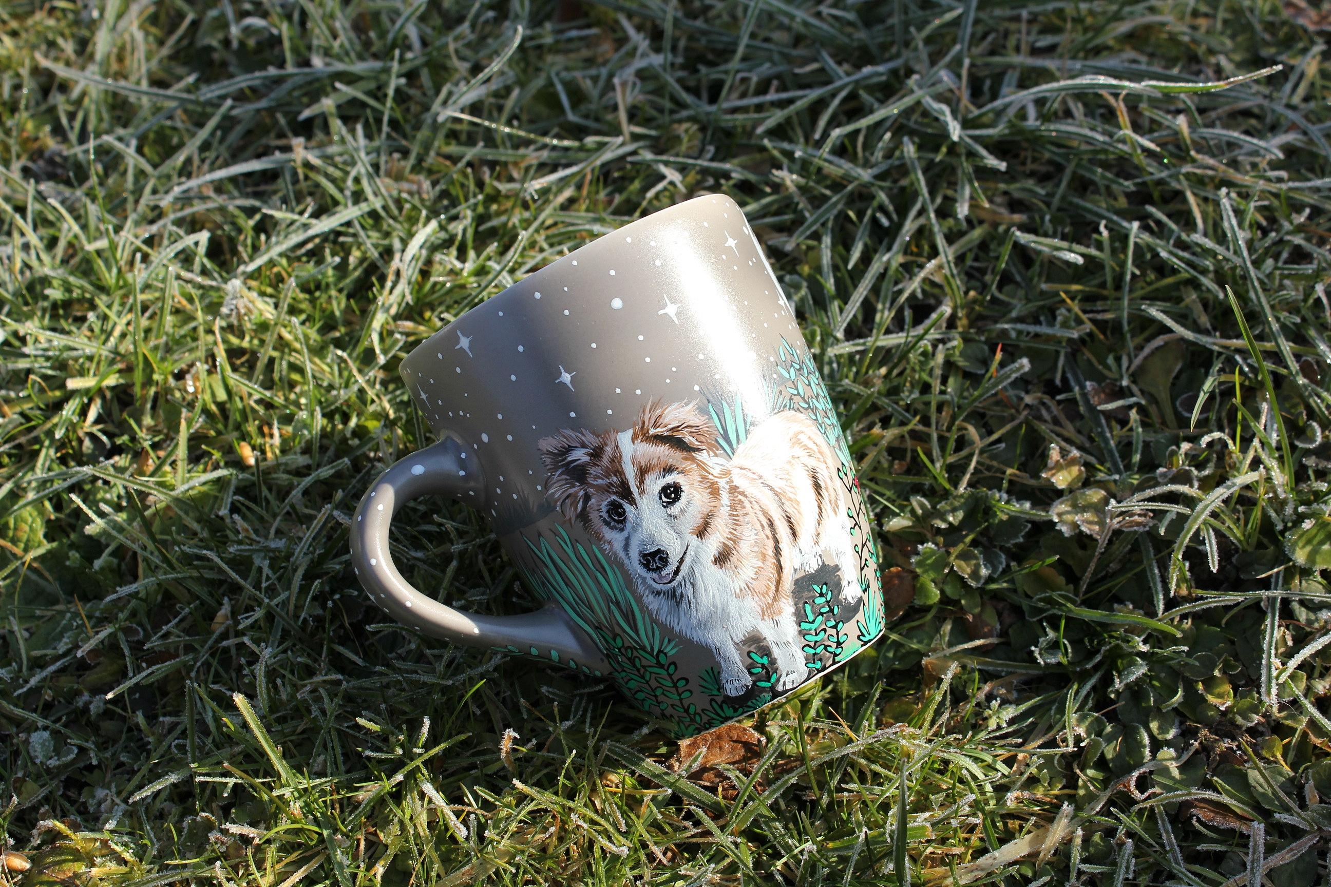 Personalizet custom pet mug coffe tea cup hand painted handmade illustration mug pet forest meadow bird cat moon grass pine trees mug etsy store
