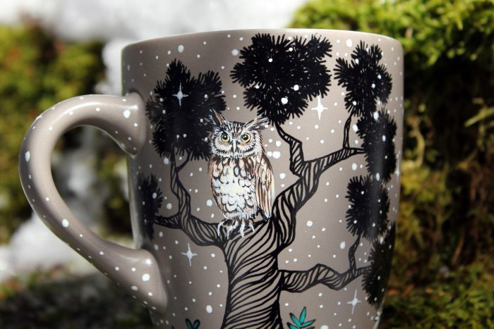 owl pine trees racoon squirrel hand painted illustration coffee te cup mug handmade goodies gift mug etsy nature landscape meadow illustration mug 3