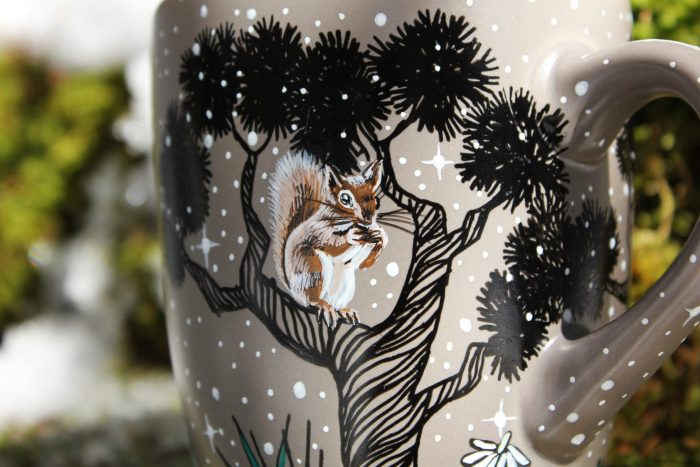 owl pine trees racoon squirrel hand painted illustration coffee te cup mug handmade goodies gift mug etsy nature landscape meadow illustration mug 3