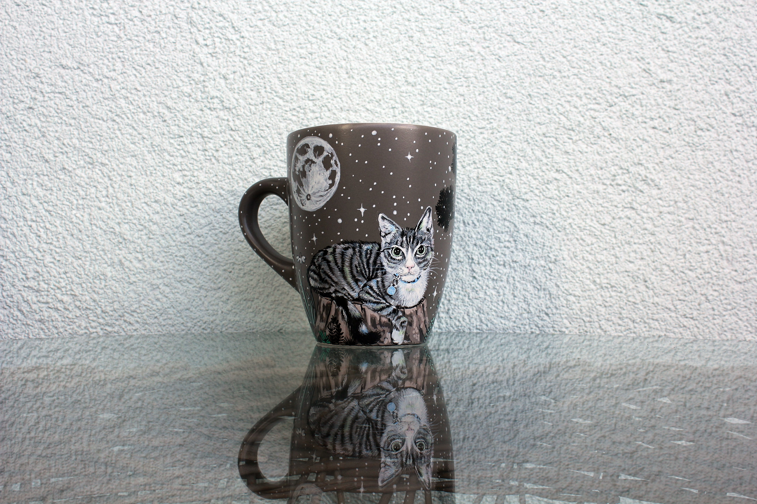 personalized custom pet mug with hand painted illustration cat mug chilling sleeping woods forest meadow moon moon phases stars yoga coffe mug cup 11