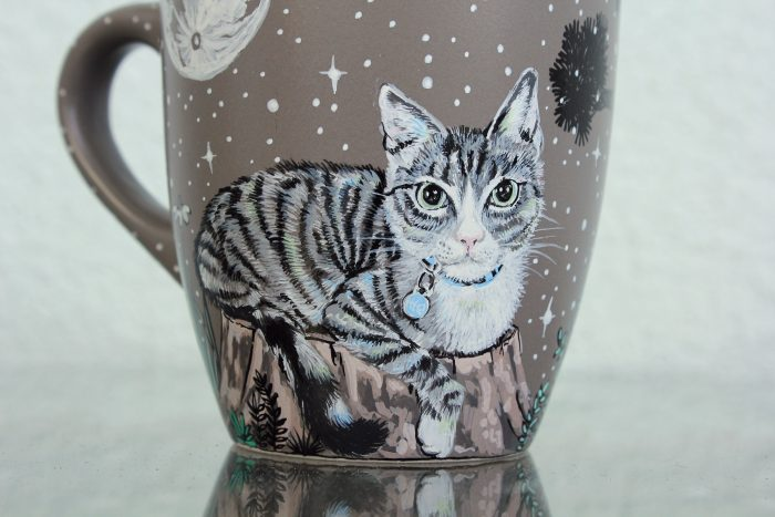 Personalized mystique moon forest pet mug