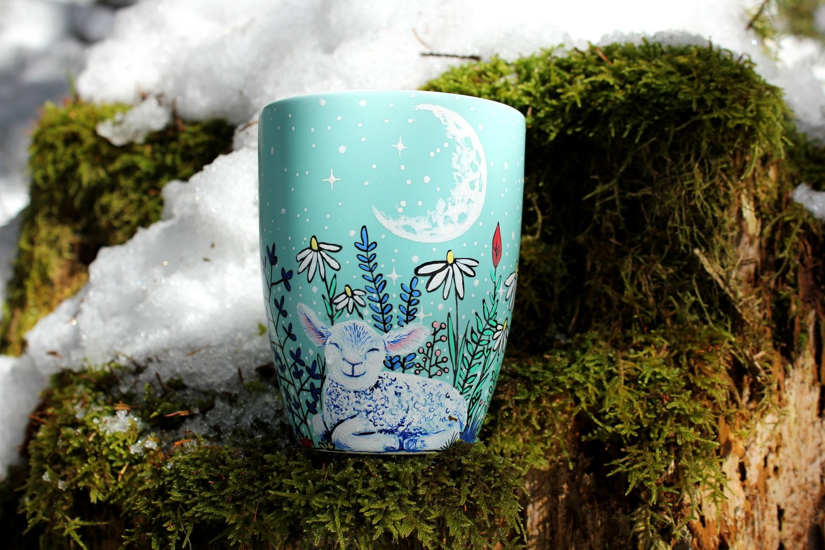 sheep mug art etsy store online store hand painted illustration handmase gift mug coffe tea mug cup tourquoise matte coffe mug meadow flowers grass sheep illustration mug