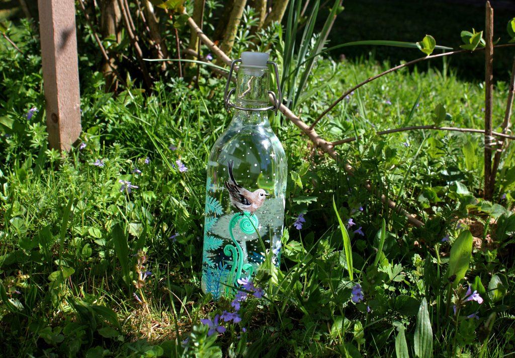 Plastic bottle blue transparent
