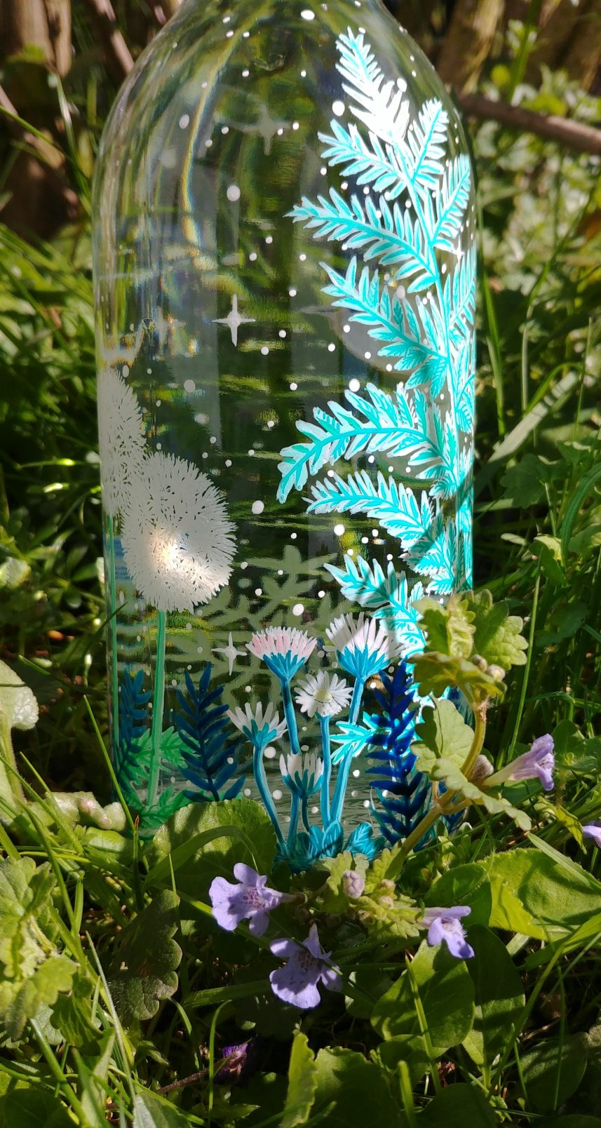 Birds in the meadow, hand painted meadow forest plants illustration, flower power glass water bottle, animal nature lover unique gift, fern, grass blue flowers painting