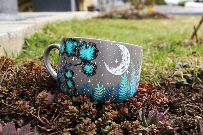 Degu custo etsy personalized coffee tea cup mug hand painted illustration meadow flowers animals pets animal lovers birthday gift pet loss