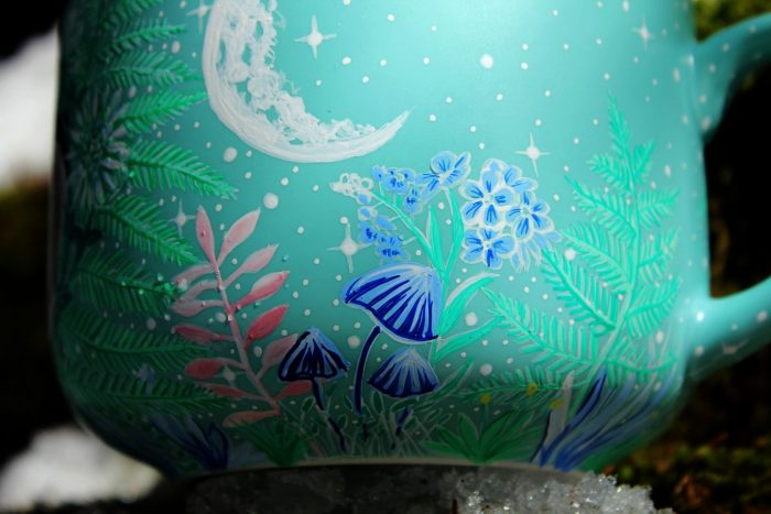 Degu nature hand painted illustration handmade watercolor cup mug coffee tea gift animal lover forest trees meadow flowers moon mug stars etsy store