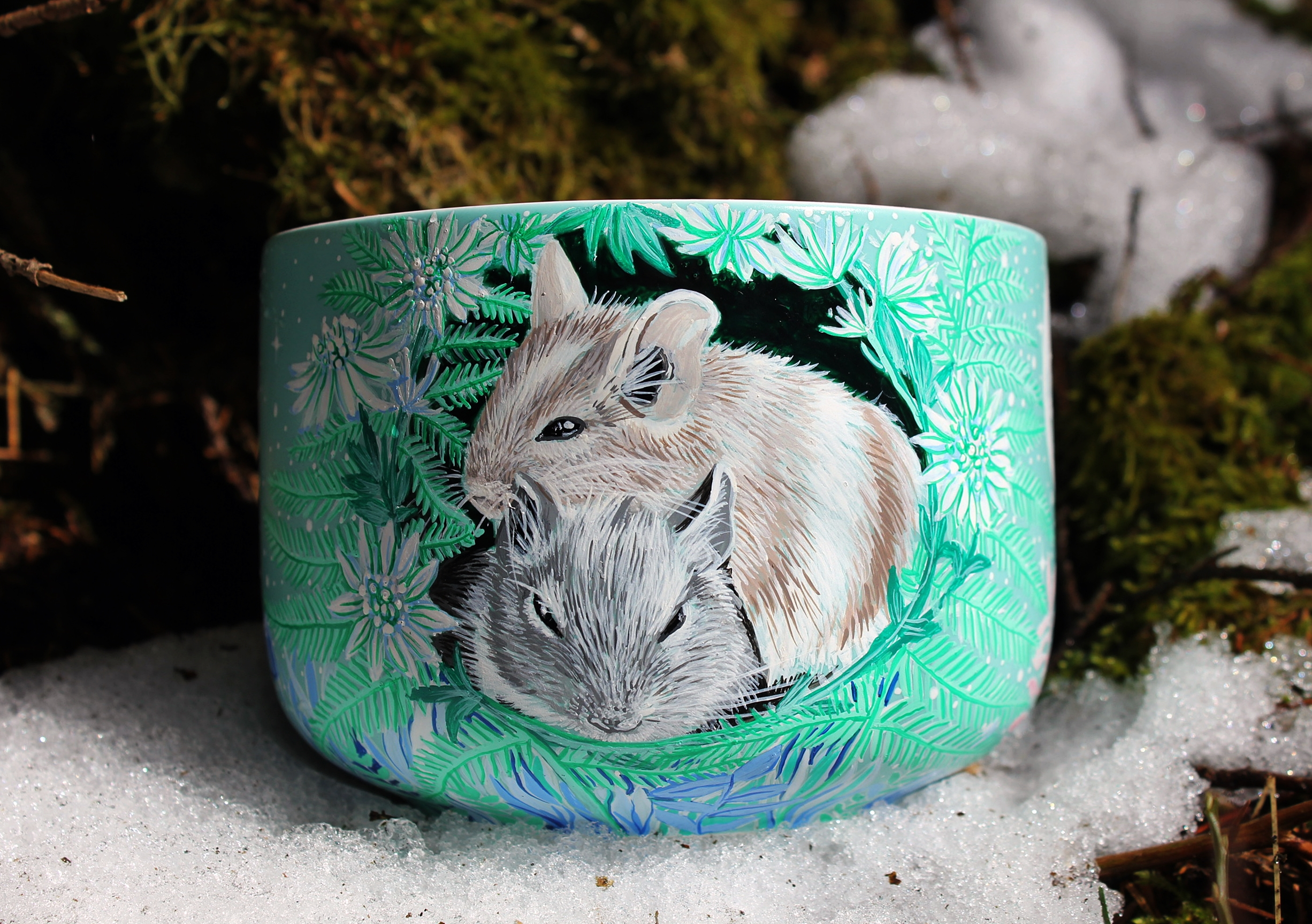 Degu nature hand painted illustration handmade watercolor cup mug coffee tea gift animal lover forest trees meadow flowers moon mug stars etsy store 5
