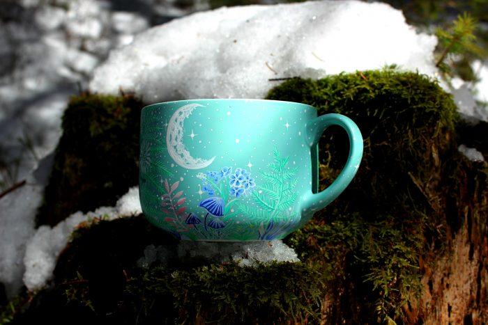 Degu nature hand painted illustration handmade watercolor cup mug coffee tea gift animal lover forest trees meadow flowers moon mug stars etsy store