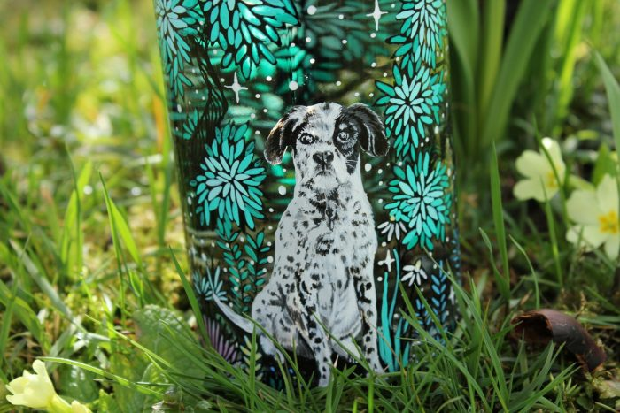 dog lover glass water bottle, hand painted glass illustration water bottle etsy store finds seller, online boutique, artwork store handmade shewolfka draw painting