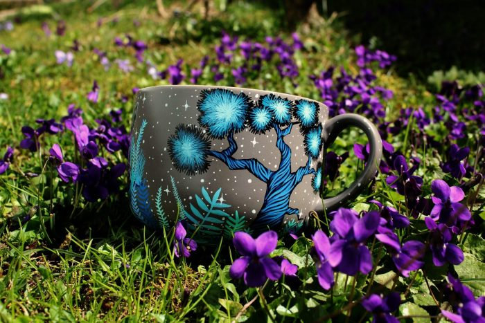 personalized custom handmade hand painted dog coffee tea cup mug etsy store shewolfka illustration moon forest nature art drawing