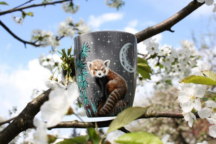 red panda hand painted illustration on ceramic coffee mug, nature illustration, bamboo forest, etsy store, nature photography moon forest night scene handmade gift ideas for nature animal lovers