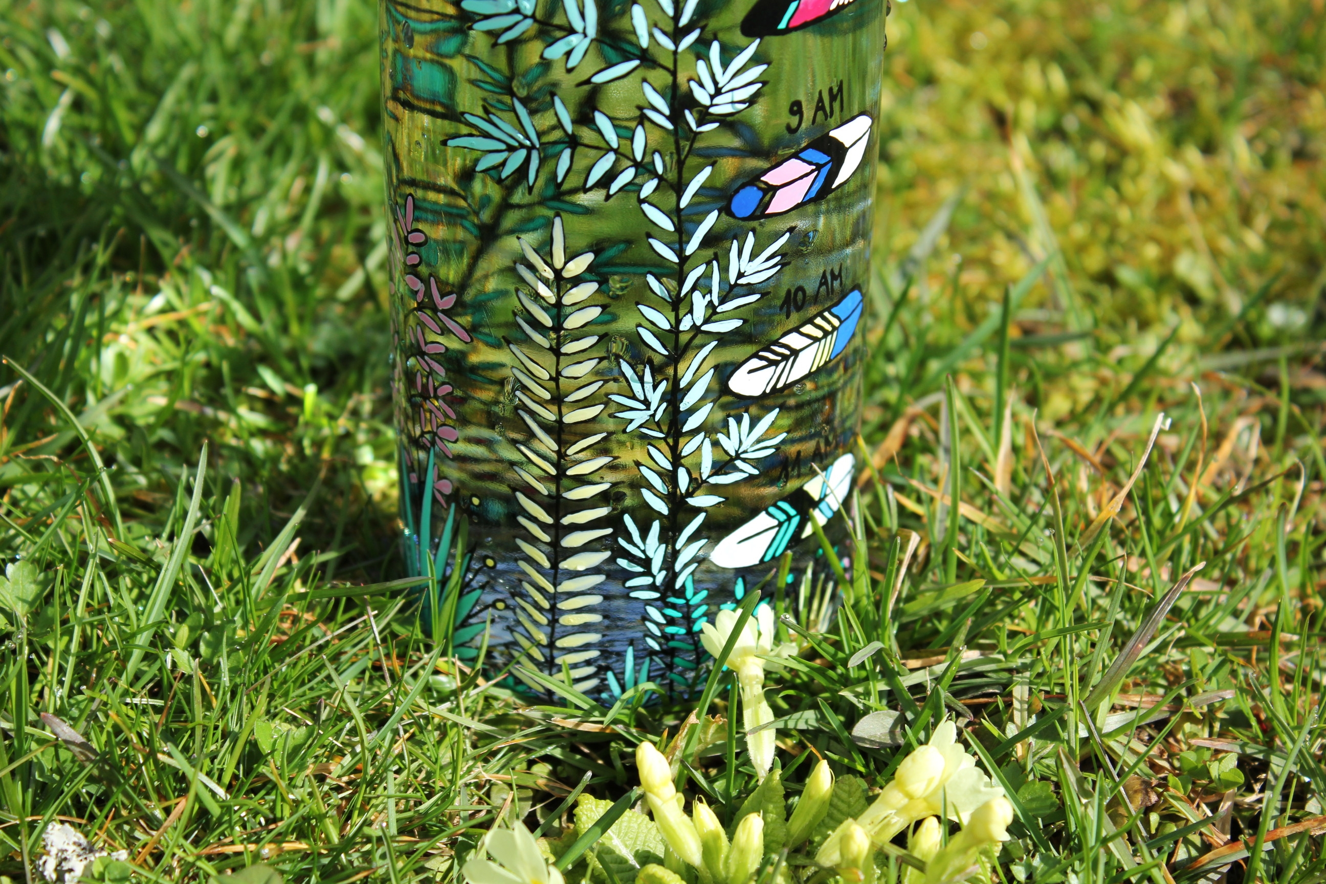 stay hydrated water bottle glass, Etsy finds, etsy store shewolfka, feathers tribe, tribal native water bottle online store, hand painted illustration, handmade plants nature drawing
