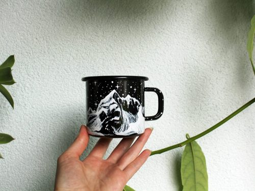 hand painted enamel mug custom personalized coffe cup, camping item, camp time, starry night cresscent moon etsy store online shopping handmade product, painting illustration 5