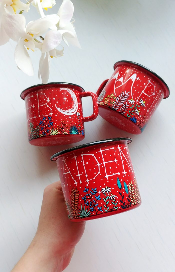 red enamel mug, metal camping mug, capfire cup, tea cup, coffee lovers gift, enamelware, best gifts on internet, hand painted gifts, handmade mug, buy handmade, name mug, constellation custom mug, personalized gifts, meadow illustratuion, crescent moon drawing, stars and moon