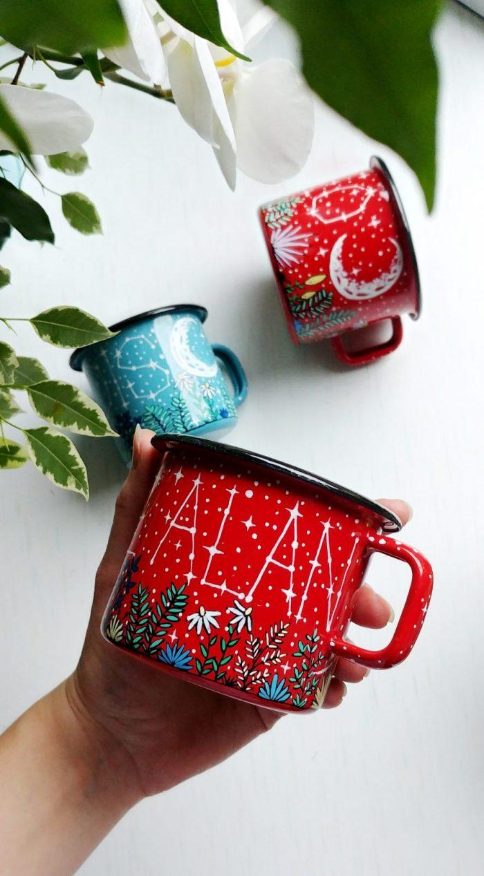 red enamel mug, metal camping mug, capfire cup, tea cup, coffee lovers gift, enamelware, best gifts on internet, hand painted gifts, handmade mug, buy handmade, name mug, constellation custom mug, personalized gifts, meadow illustratuion, crescent moon drawing, stars and moon