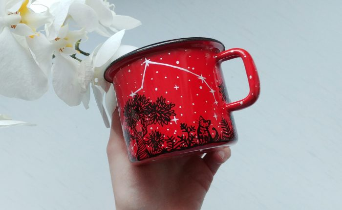 name animal enamel mug, red mugs, campfire mug, botanical art, botanic illustration, hand painted mug, custom art, favourite animal, crescent full moon, starry night, constellation mug, forest woodland cup, woods meadow option, cat, rabbit, bird, sqirrel cup, flowers plants, ferns