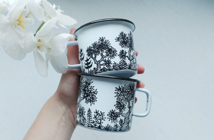 woodland forest enamel metal camping cup mug, hand painted handmade products, botanic art mug, coffee lover gift idea, leafy trees illustration, etsy drawing, online store