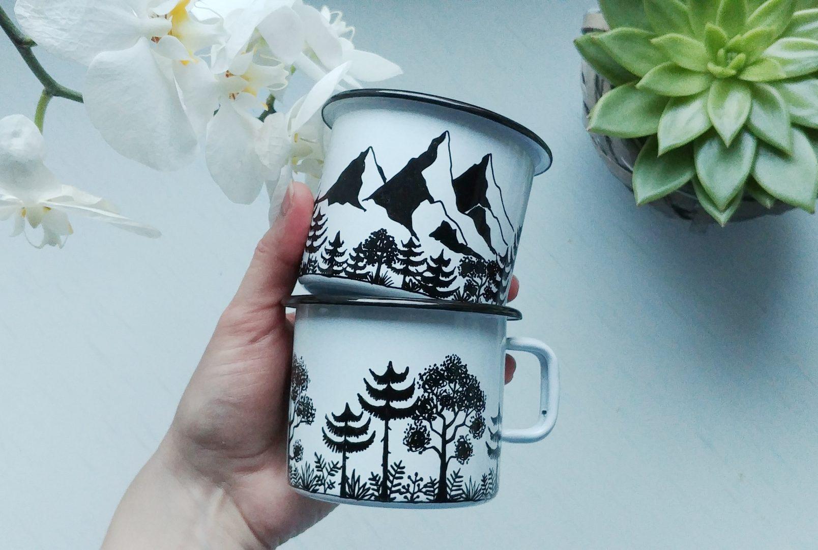 woodland mountain camping enamel mug, hand painted mugs, shewolfka, black and white, botanical illustration, campfire metal mug, mountains lover, coffee tea time, valentines birthday gift cup