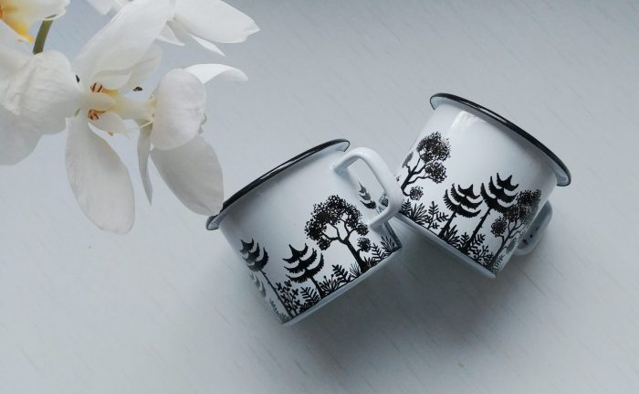 Forest woodland enamel mug, mountain woods campfire cup, camping gift, nature lovers, meadow drawing, etsy shewolfka store, white mug, black and white art, illustration art3