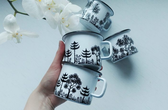 hand painted enamel Forest woodland enamel mug, mountain woods campfire cup, camping gift, nature lovers, meadow drawing, etsy shewolfka store, white mug, black and white art, illustration art3