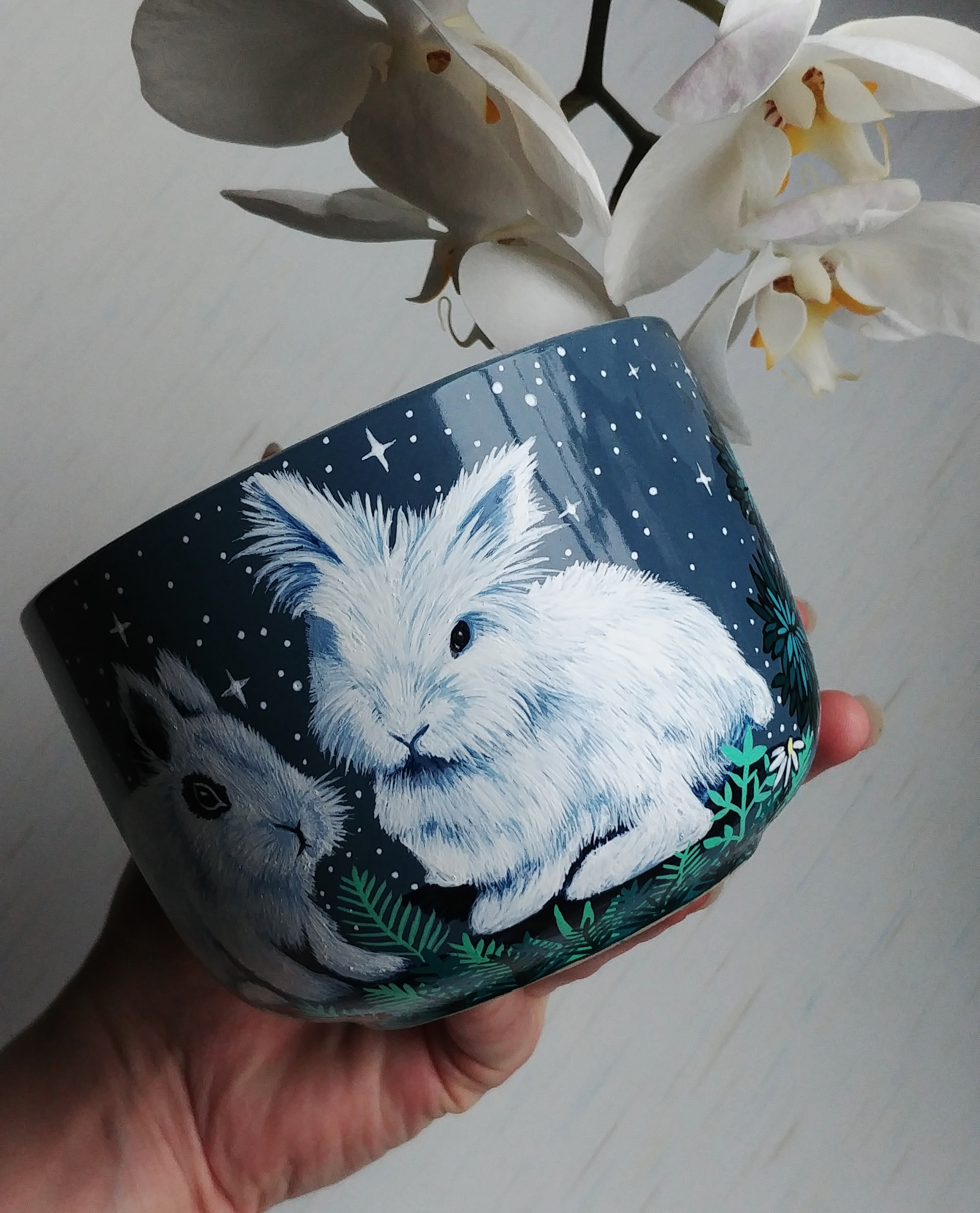 bunny etsy mug art work, hand painted illustratin, etsy seller, bunny drawing, hare, rabbit artwork, ceramics mug, tea coffee cup soup cup 4