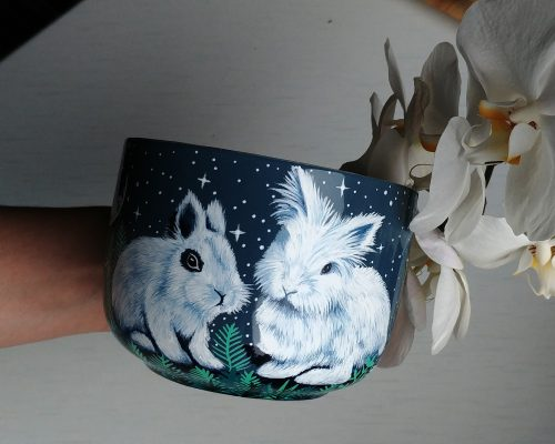 custom pet mug etsy mug art work, hand painted illustratin, etsy seller, bunny drawing, hare, rabbit artwork, ceramics mug, tea coffee cup soup cup 4