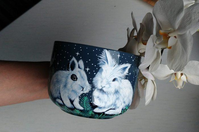 custom pet mug etsy mug art work, hand painted illustratin, etsy seller, bunny drawing, hare, rabbit artwork, ceramics mug, tea coffee cup soup cup 4