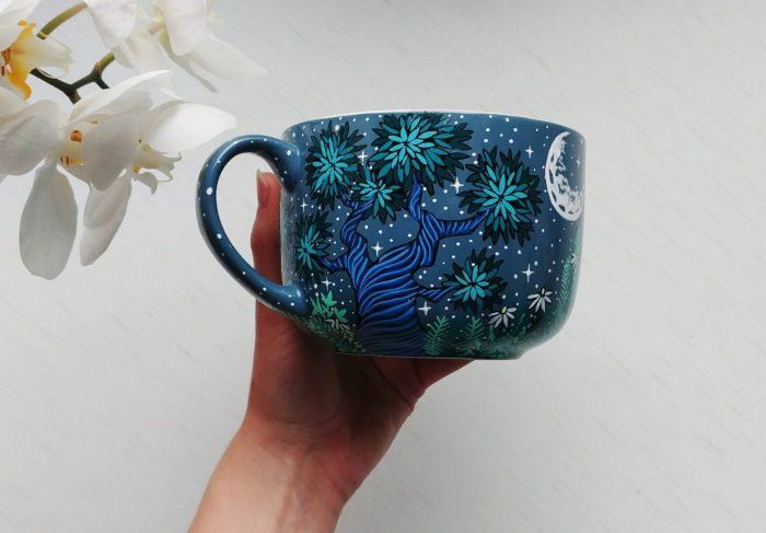 bunny etsy mug art work, hand painted illustratin, etsy seller, bunny drawing, hare, rabbit artwork, ceramics mug, tea coffee cup soup cup 4