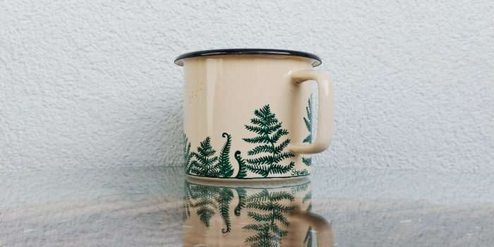 fern enamel mug, hand painted coffee tea mug, etsy store seller, buy handmade, nature art, mountain illustration, campers mug, camping lover, hiking